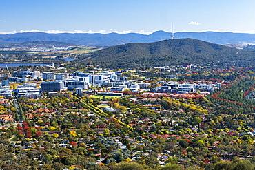 Australia, Australian Capital Territory, Canberra, Cityscape in green valley