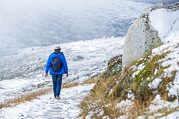Australia, New South Wales, Woman hiking on snowy trail at Charlotte Pass in Kosciuszko National Park