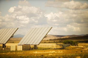 Solar panels at solar energy power plant