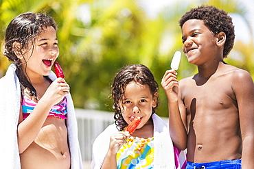 Kids( 4-5, 6-7, 8-9) eating ice-creams, Jupiter, Florida