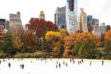 People ice skating, New York City, USA