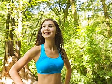 Portrait of runner in forest, USA, Oregon, Portland