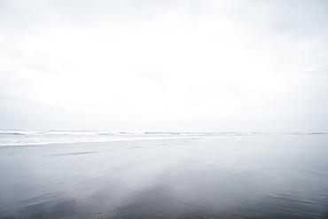 Fog over sandy beach, Rockaway Beach, Oregon