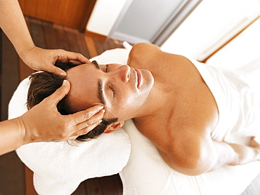 Man getting massage in spa