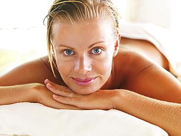 Portrait of woman relaxing in spa