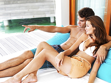 Portrait of couple relaxing together