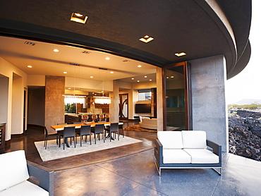 Modern living room facing terrace