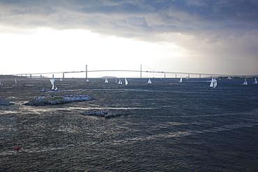 USA, New England, Rhode Island, Sailing boats on sea