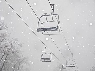 Ski lift in snow