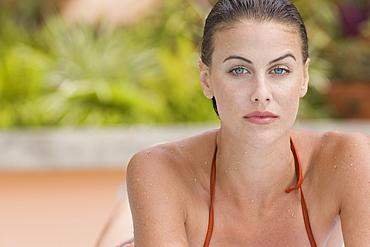 Portrait of woman in bathing suit