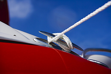 Close up of rope around boat cleat, Florida, United States