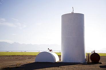 Fuel tanks on farm, Colorado, USA