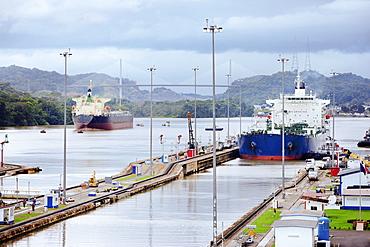 Panama, Panama City, Ship in canal lock