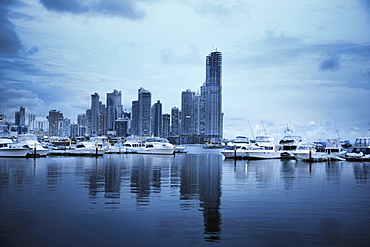 Panama, Panama City, Boats with skyline in background