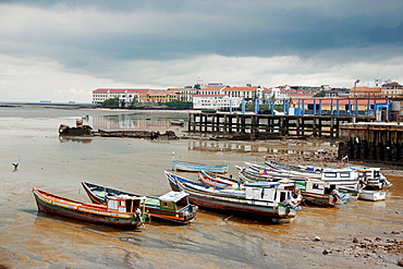 Panama, Panama City, Fishing boats on coastline at low tide