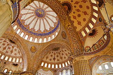 Turkey, Istanbul, Blue Mosque ornate interior
