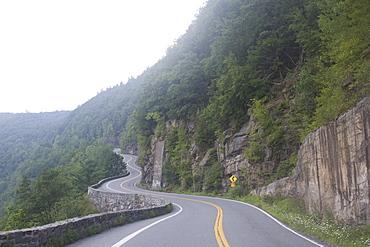 Winding road through mountains