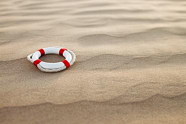 Lifebuoy in desert