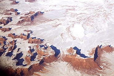 Aerial view of snow covered desert