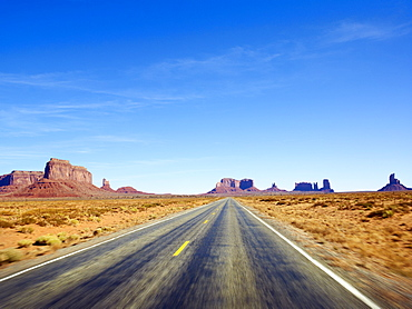 Desolate road through the desert