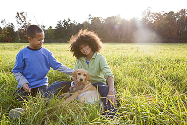 Children and dog