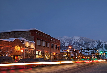 Steamboat Springs, Town at night with mountains in background, Steamboat Springs, Colorado, Use