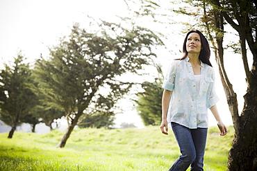 Woman walking in park