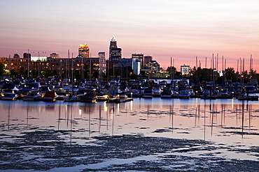 Cityscape and marina seen from lake Erie, Cleveland, Ohio