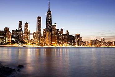 Gold Coast buildings at dusk, Chicago, Illinois