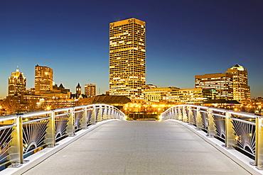Pedestrian bridge with skyline in background, Milwaukee, Wisconsin