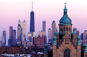 Saint Nicholas Ukrainian Catholic Cathedral and downtown district, Chicago, Illinois
