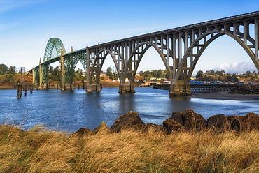 View of Yaquina Bay bridge, Newport, Oregon