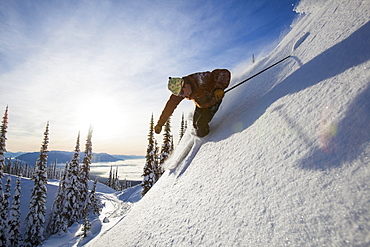 Man skiing, USA, Montana, Whitefish