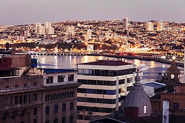 Cityscape at sunset, Chile, Valparaiso