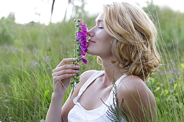 Portrait of happy woman with purple flower, Netherlands, Gelderland, Hatertse Vennen