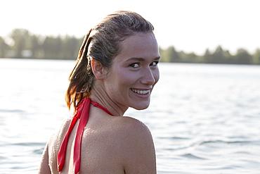 Portrait of beautiful woman in bikini, Netherlands, Gelderland, De Rijkerswoerdse Plassen