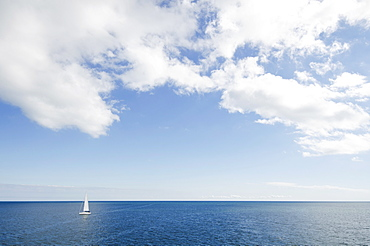 Lonely sailboat on ocean