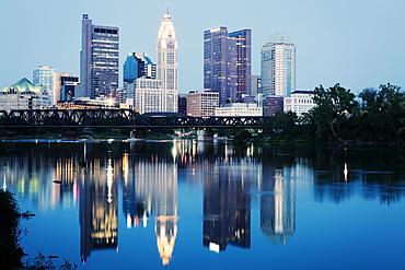 City skyline at dusk, Cleveland, Ohio
