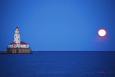 Chicago Lighthouse and full moon