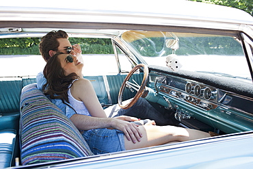 Couple in vintage car, Netherlands, Tilburg
