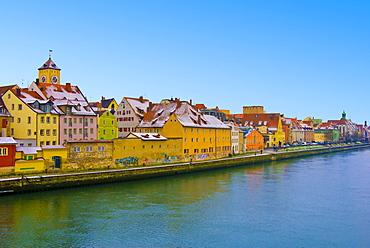 Germany, Bavaria, Regensburg, View of city at winter, Germany, Regensburg