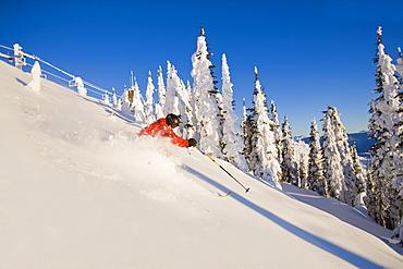 Man skiing powder in mountain scenery