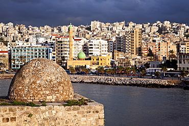 Sidon Sea Castle with city panorama