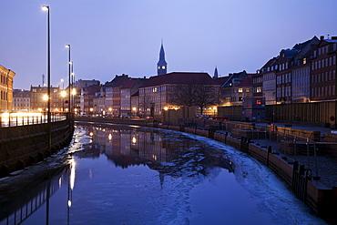 Old town scene on winter morning
