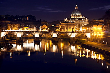 View over Tiber River towards Vatican at twilight