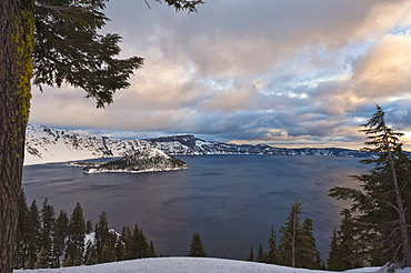 View over Crater Lake in winter