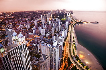 USA, Illinois, Chicago, Aerial view of Lake Shore Drive
