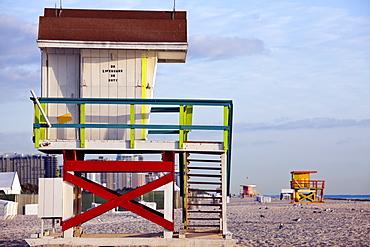 USA, Florida, Miami Beach, Lifeguard hut