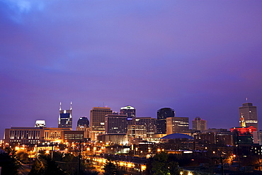 USA, Tennessee, Nashville, Panoramic cityscape at night