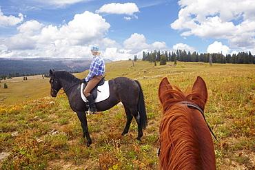 Woman riding horse, USA, Western USA, Colorado